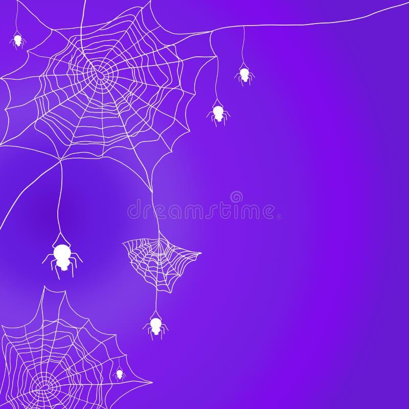 Allhelgonaaftonbakgrund med spindelnätet och hängande spindel på purpurfärgad bakgrund stock illustrationer