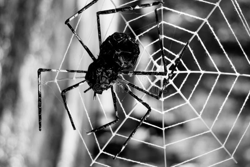 Allhelgonaaftonbakgrund med spindelrengöringsduk, mörk bakgrund royaltyfri bild