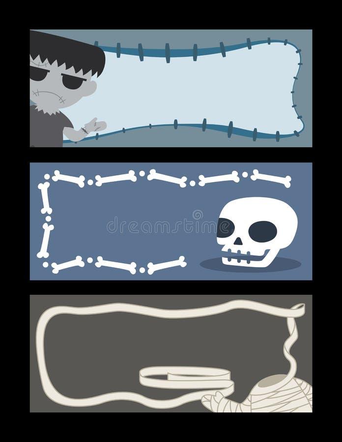 Allhelgonaaftonbaneruppsättning royaltyfri illustrationer