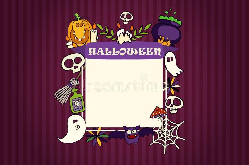 Allhelgonaaftonbanret med symboler ställde in på texturerad bakgrund Spöke slagträ, rengöringsduk, stearinljus, gift, plan illust vektor illustrationer