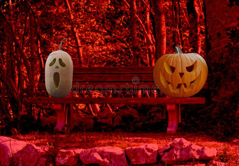 Allhelgonaaftonberöm läskiga och spöklika sned pumpor för två på en parkerabänk i ett fasaskoglandskap royaltyfri fotografi