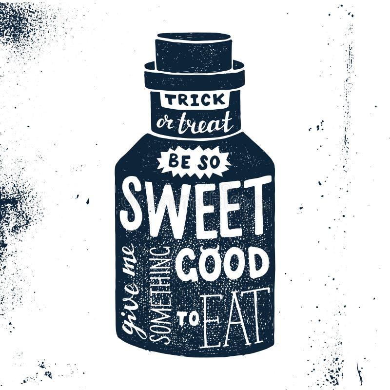 Allhelgonaaftondesign med flaskan och bokstäver stock illustrationer