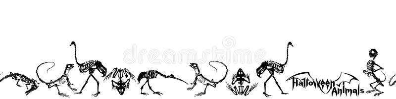 Allhelgonaaftondjur - svarta skelett av reptilkrokodiler, ödlor, grodor, apor och fågelstrutsar och häger stock illustrationer