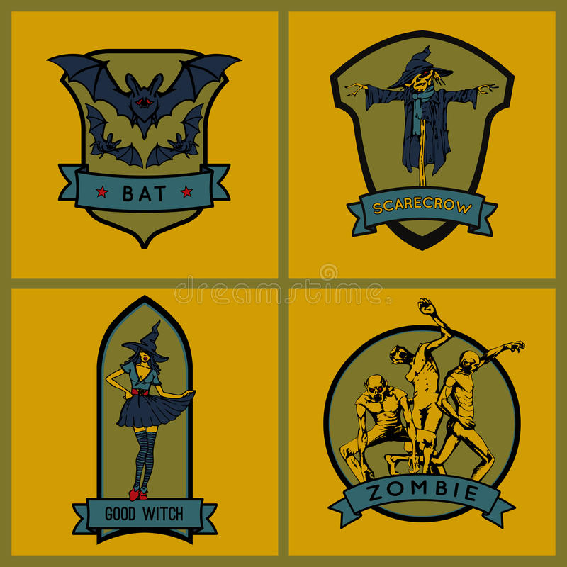 Allhelgonaaftonemblem Uppsättning korsade emblems skyddar svärdvektorvingar royaltyfri illustrationer
