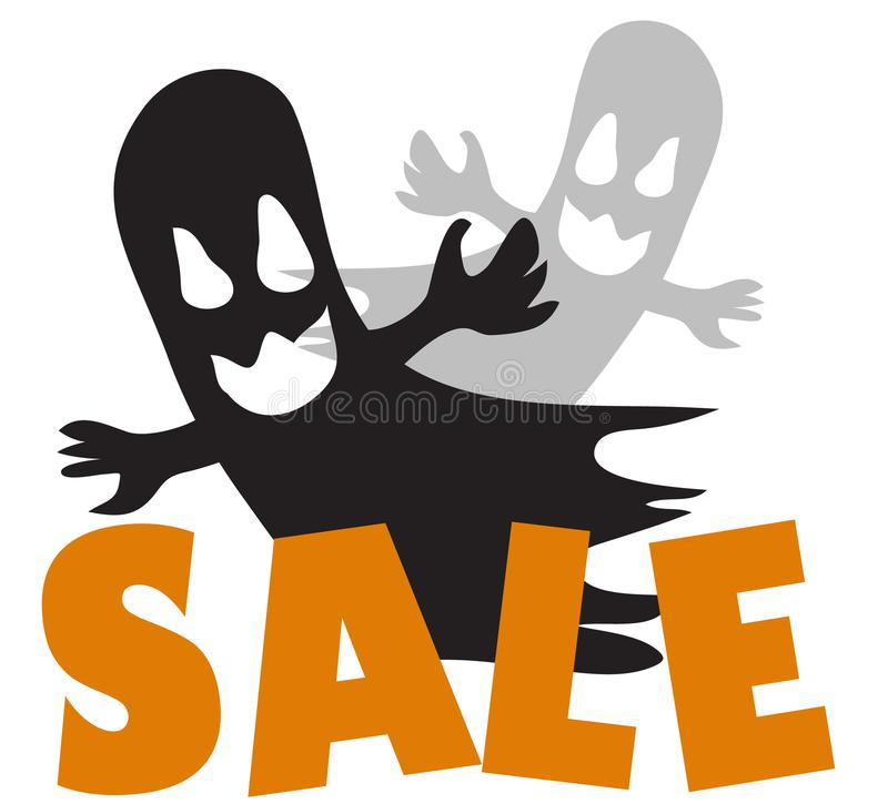 Allhelgonaaftonen är spökskrivare lyckligt om speciala erbjudanden royaltyfri illustrationer