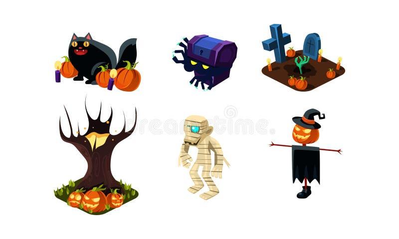 Allhelgonaaftonen gällde objekt, och varelser ställde, användargränssnitttillgångar för mobila apps eller videospelvektorillustra stock illustrationer