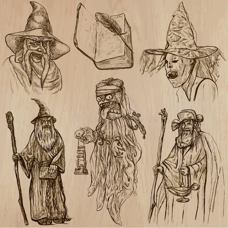 Allhelgonaaftonen, häxor och trollkarlar - räcka den utdragna vektorpacken royaltyfri illustrationer