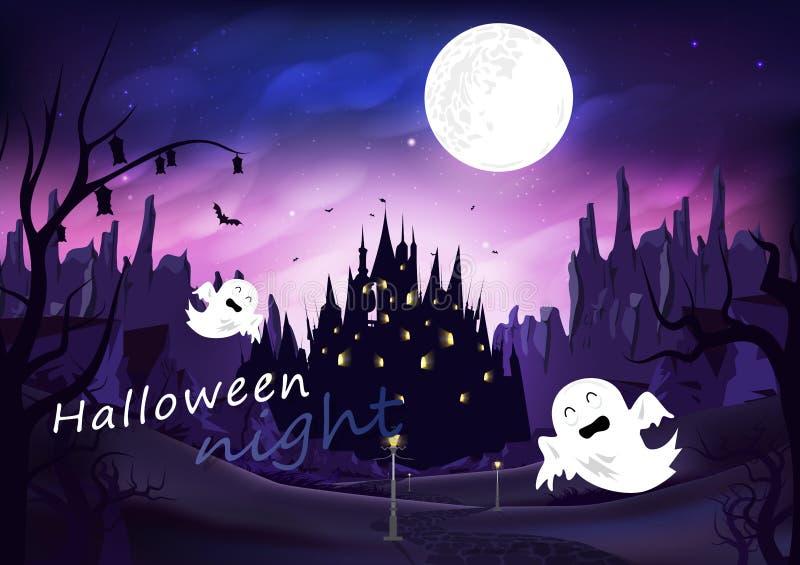 Allhelgonaaftonen som är spöklik på vägen med slotten, affischen för platsen för natten för fantasimirakelkonturn, berg landskap  vektor illustrationer
