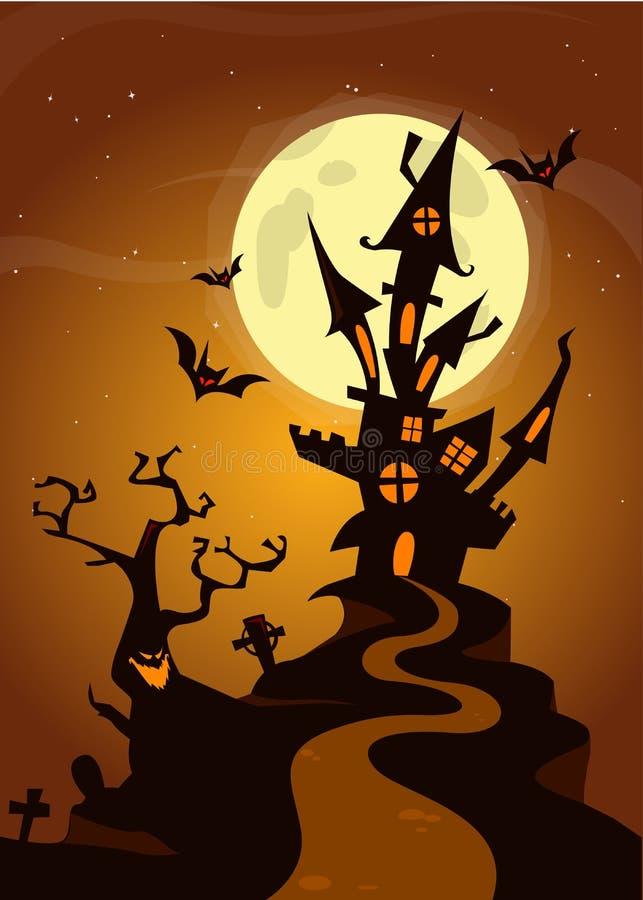 Allhelgonaaftonen spökade huset på nattbakgrund med en vektorillustration för fullmåne bakom - royaltyfri illustrationer