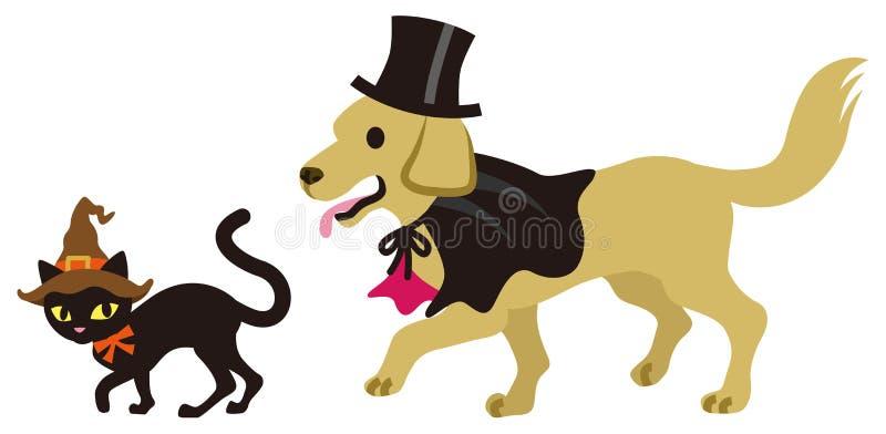 Allhelgonaaftonförklädnad, katt och hund royaltyfri illustrationer