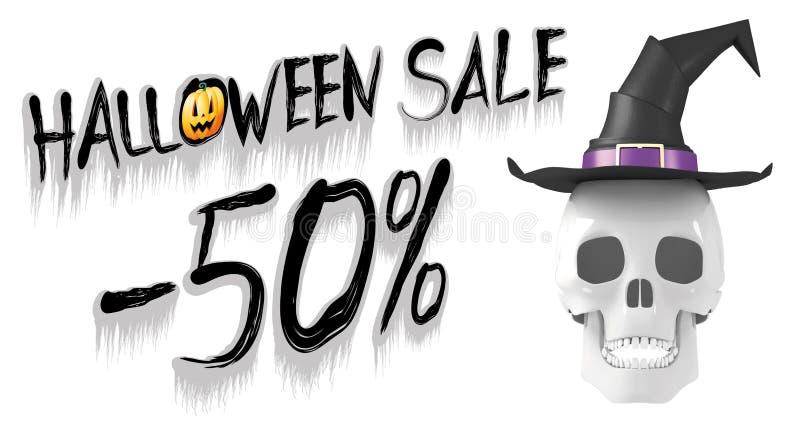 Allhelgonaaftonförsäljning -50% - baner med en bärande häxahatt för skalle stock illustrationer
