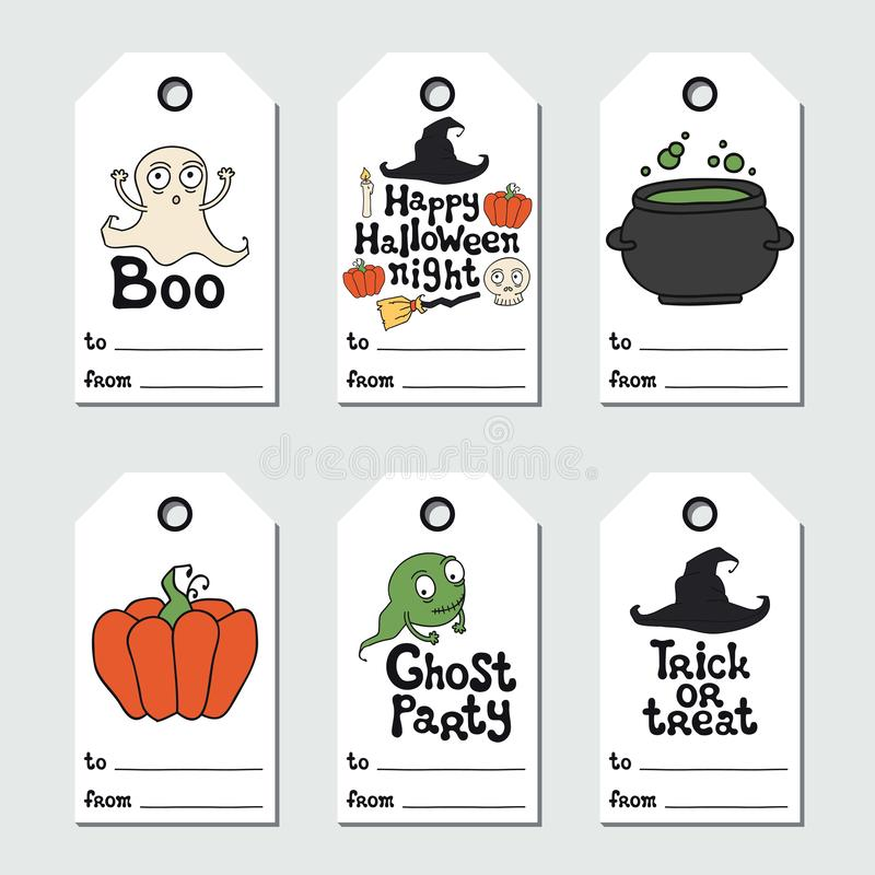 Allhelgonaaftongåvaetiketter Tryckbar etikettssamling Handdrawn bokstäveruttryck etikett Designbeståndsdel för allhelgonaafton stock illustrationer