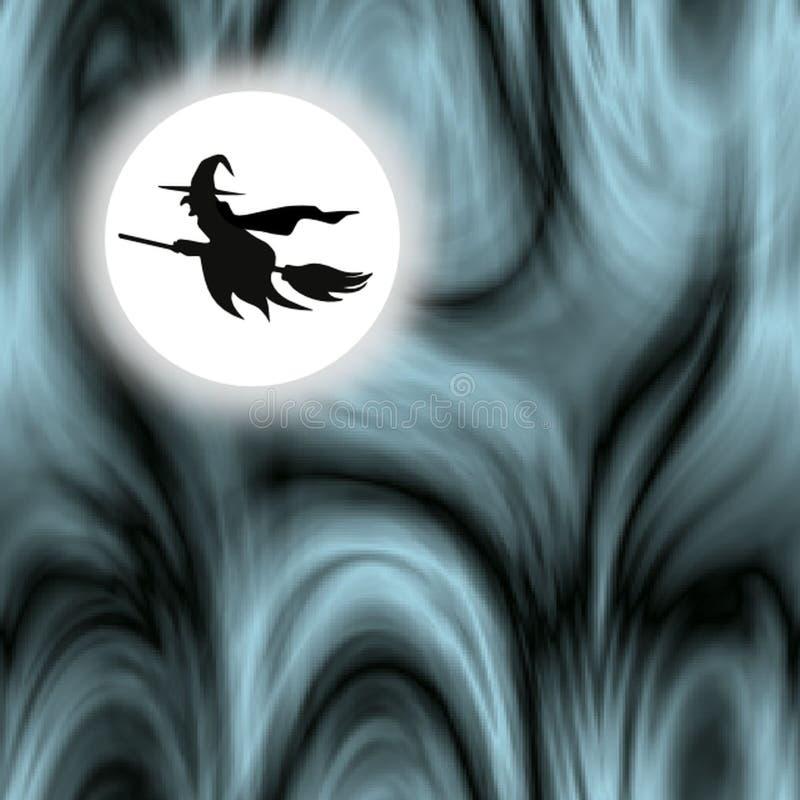 Allhelgonaaftonhäxa som rider en kvast mot månskenet royaltyfri illustrationer