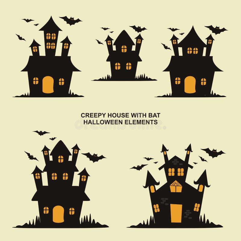 Allhelgonaaftonhussamling, med tecknad filmstil och kuslig design royaltyfri illustrationer
