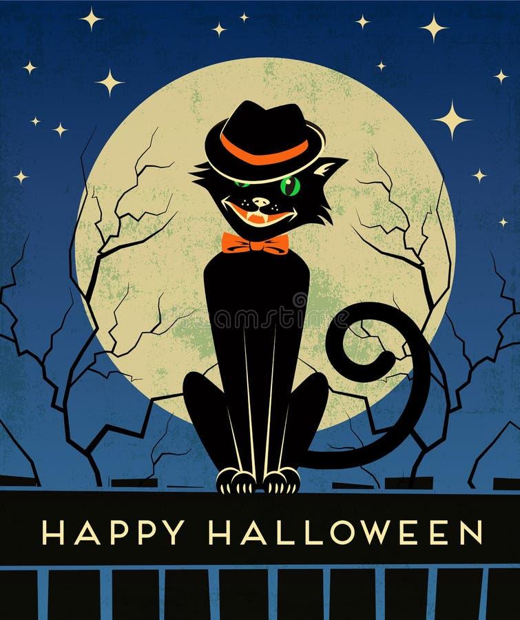 Allhelgonaaftonkort med den stilfulla tillbaka katten och fullmånen vektor illustrationer