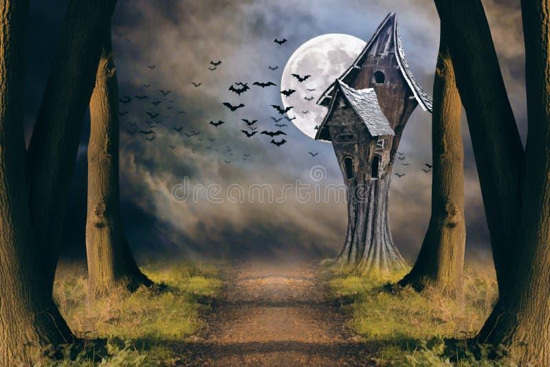 Allhelgonaaftonkort med fullmånen och det kusliga huset royaltyfri illustrationer
