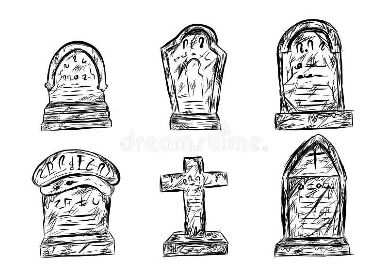 Allhelgonaaftonkyrkogården skissar vid handteckningen stock illustrationer