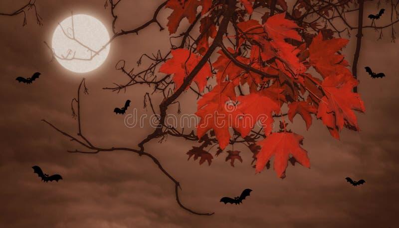 Allhelgonaaftonlandskap med månen royaltyfri illustrationer