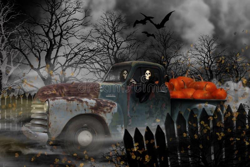 Allhelgonaaftonlikätande onda andar i gamla Chevy Truck royaltyfri illustrationer