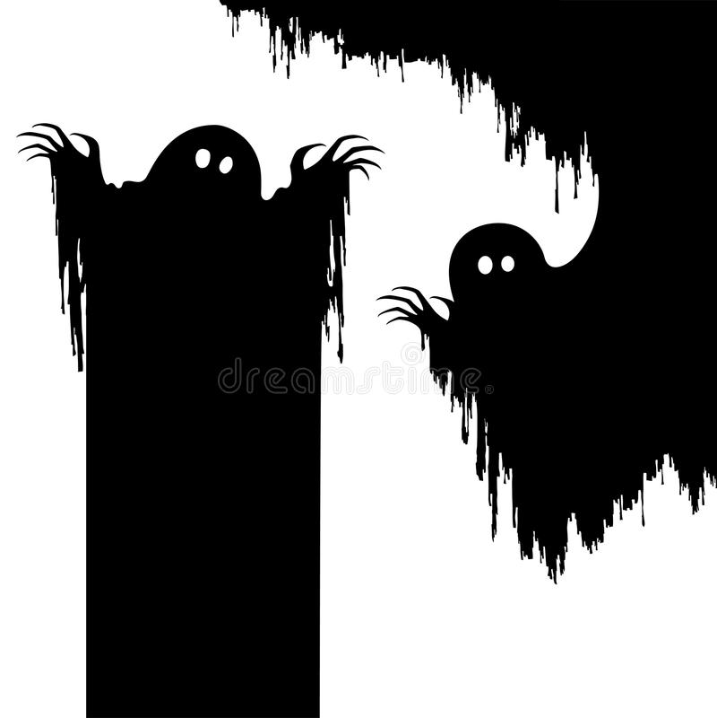 Allhelgonaaftonmardrömmonster, kuslig spöke som bakgrund royaltyfri illustrationer