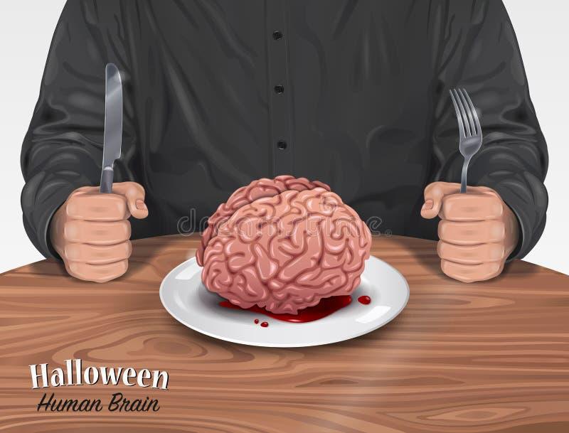 Allhelgonaaftonmeny - mänsklig hjärna stock illustrationer