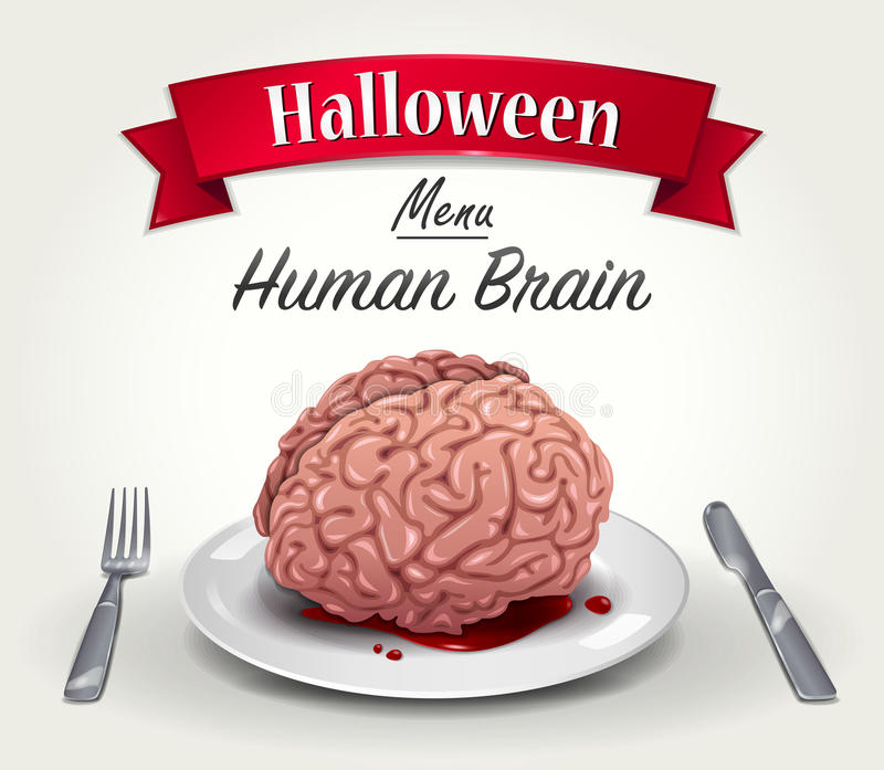 Allhelgonaaftonmeny - mänsklig hjärna vektor illustrationer