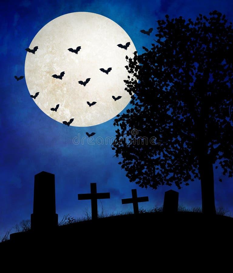 Allhelgonaaftonnatt, en öde och otvungenhetkyrkogård med gravstenar och kors Månen är glänsande, och slagträna är ut och chasinen stock illustrationer