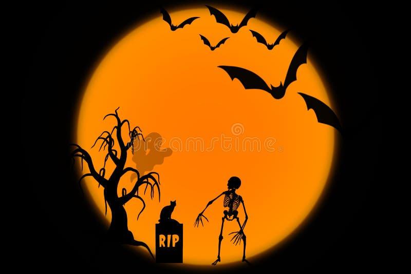 Allhelgonaaftonnatt med månen, träd, slagträn, skelett, spöke på svart och orange bakgrund royaltyfri illustrationer