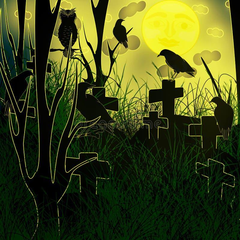 Allhelgonaaftonnatt på kyrkogården vektor illustrationer