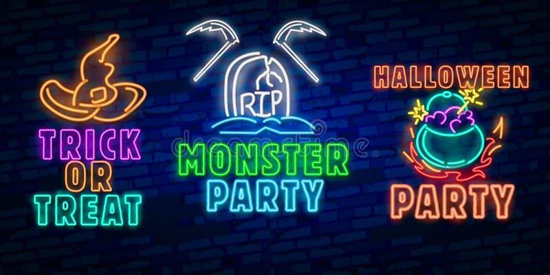 Allhelgonaaftonneontecken Mall för trick- eller festallhelgonaaftondesign med spöken och rengöringsduk för banret, affisch, hälsn stock illustrationer