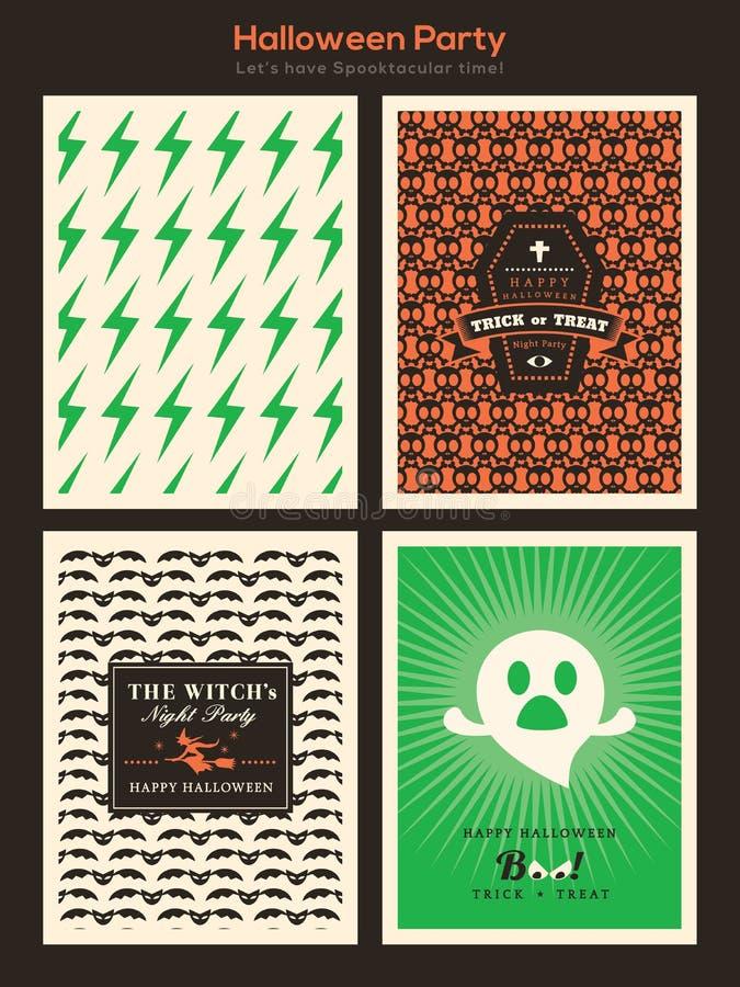 Allhelgonaaftonpartibakgrund för inbjudankort/affisch/reklamblad vektor illustrationer