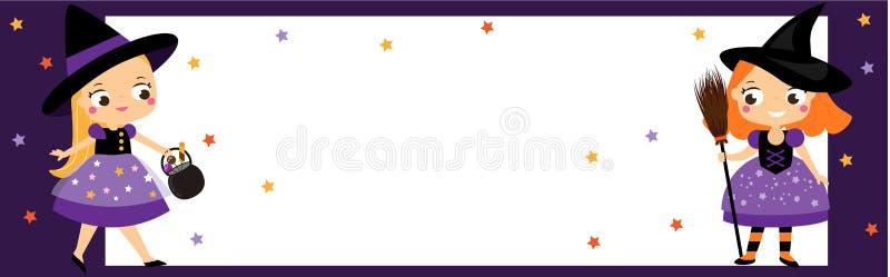 Allhelgonaaftonpartibaner med gulliga små häxor Inbjudningar annonseringar med barnflickor royaltyfri illustrationer