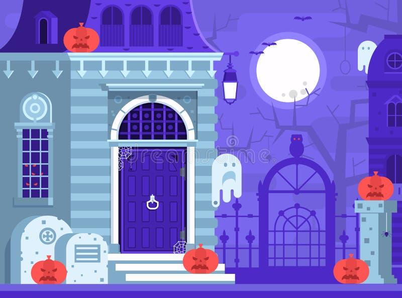 Allhelgonaaftonplats med det spökade huset stock illustrationer
