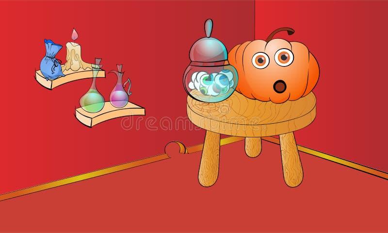 Allhelgonaaftonplatsen med pumpa med stora skinande ögon och andra ingredienser för häxa bryggar Roligt blidka allhelgonaaftonbak stock illustrationer