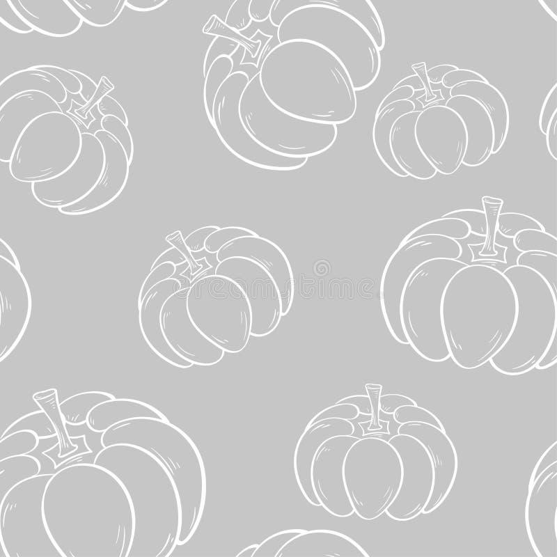 Allhelgonaaftonpumpamodell Vit sömlös bakgrund för grå färger och vektor illustrationer