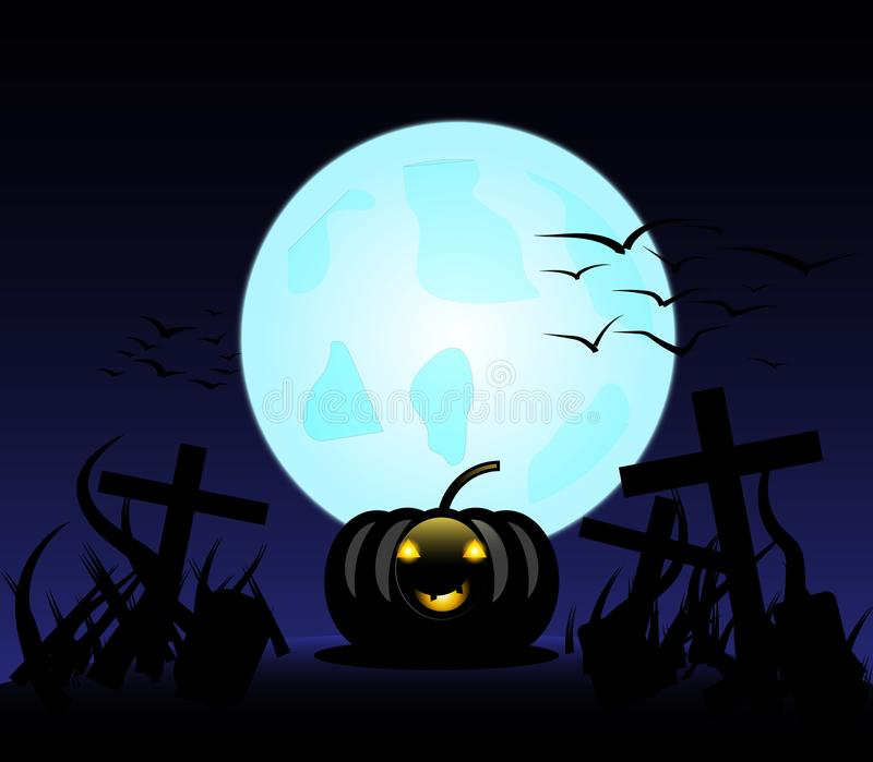 Allhelgonaaftonpumpor i kyrkogård på den blåa månen royaltyfria foton