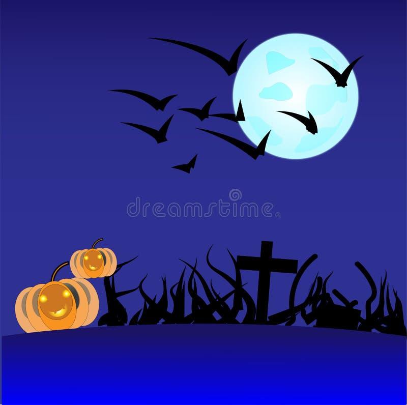 Allhelgonaaftonpumpor i kyrkogård på den blåa månen royaltyfria bilder