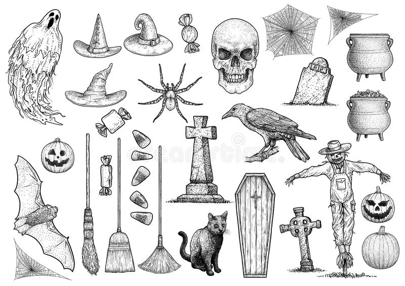 Allhelgonaaftonsamlingsillustration, teckning, gravyr, färgpulver, linje konst, vektor royaltyfri illustrationer