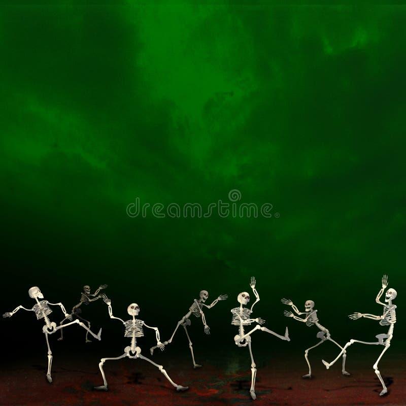 Allhelgonaaftonskelett Grön bakgrund royaltyfria bilder