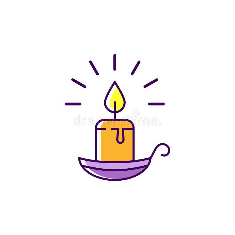 Allhelgonaaftonstearinljussymbol Brinnande stearinljus på den färgrika plana symbolen för ljusstake, tunn linje konstdesign, vekt royaltyfri illustrationer