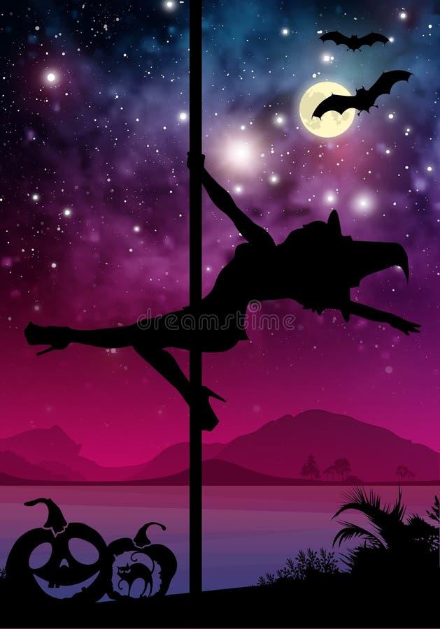 Allhelgonaaftonstilkontur av den kvinnliga poldansaren att utföra polen flyttar sig framme av floden och stjärnor Pole dansare fr royaltyfri illustrationer