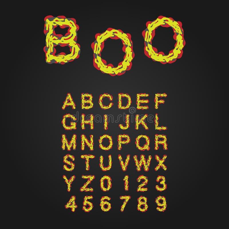 Allhelgonaaftonstilstilsort Uppercase bokstäver och nummer Latin A stock illustrationer