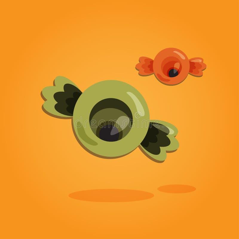 Allhelgonaaftontecknad filmkonst i plan stil Orange bakgrund, gulligt öga som är sött för design också vektor för coreldrawillust stock illustrationer