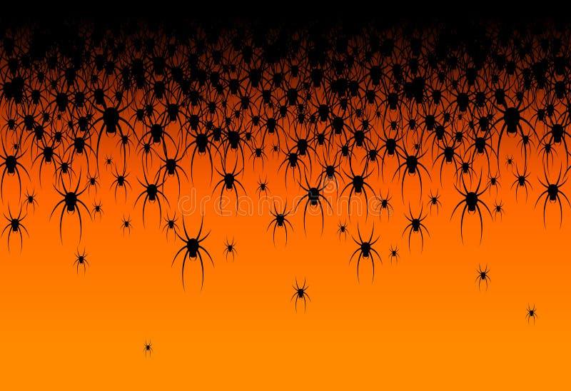 Allhelgonaaftontema många svarta spindlar på en idérik design för orange bakgrundstitelrad av kortet för mall för webbplatsbanera stock illustrationer