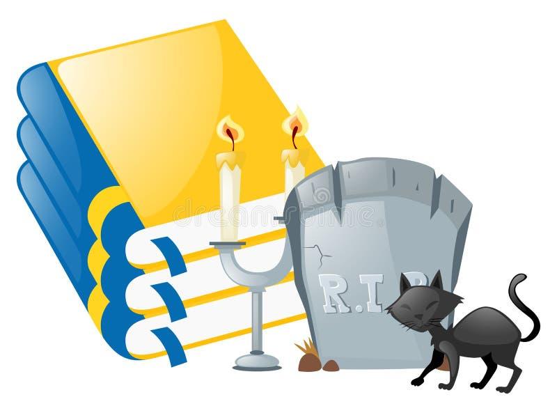 Allhelgonaaftontema med den svarta katten och gravstenen stock illustrationer