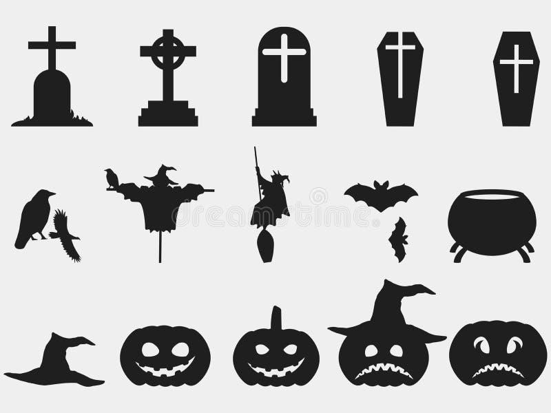 Allhelgonaaftonuppsättning av symboler Häxahatt, pumpa med sinnesrörelser vektor illustrationer