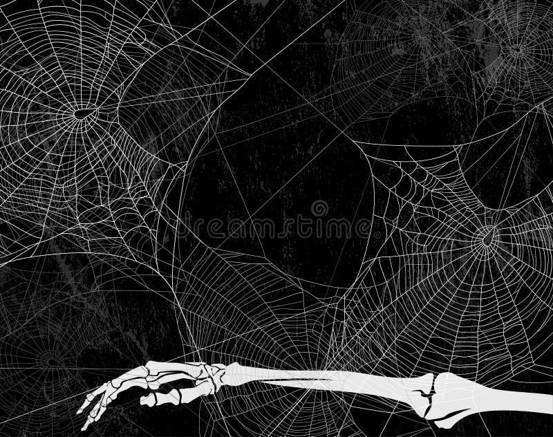 Allhelgonaaftonvektorbakgrund med det spindelrengöringsduk och skelettet royaltyfri illustrationer