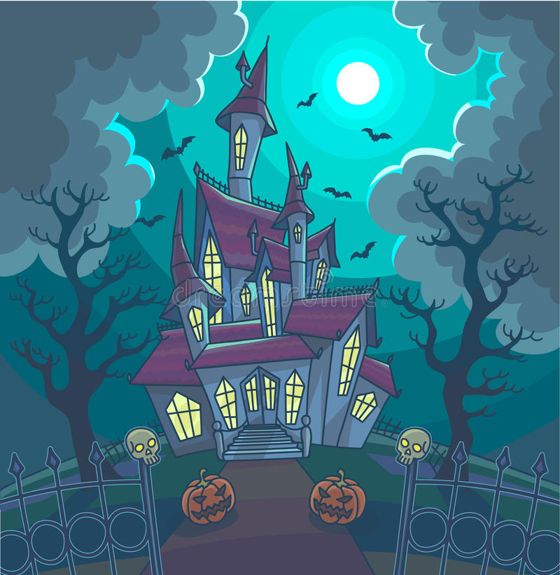 Allhelgonaaftonvektorillustration med det läskiga huset, månen och pumpa vektor illustrationer