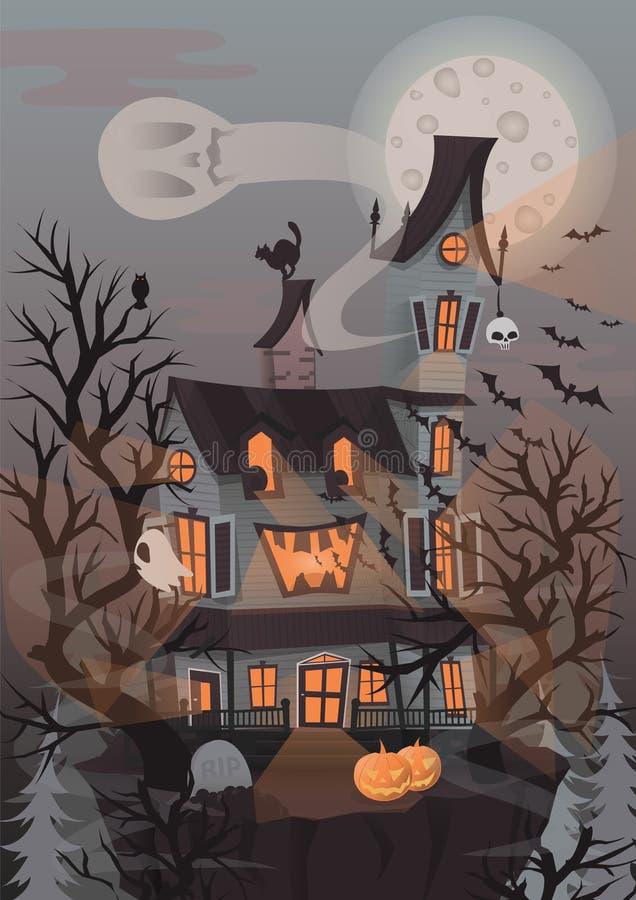 Allhelgonaaftonvektorillustration med det läskiga huset, spökar och pumpk royaltyfri illustrationer