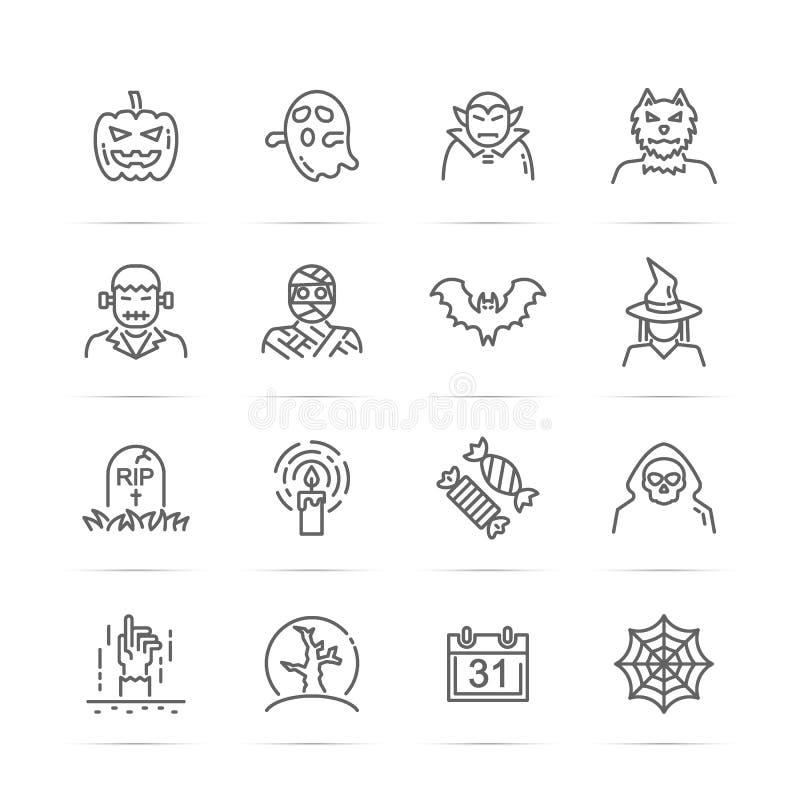 Allhelgonaaftonvektorlinje symboler royaltyfri illustrationer